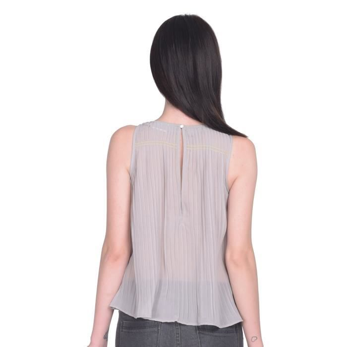 Ronde femmes cou polyester solide A-ligne Top 1BMYMM Taille-32