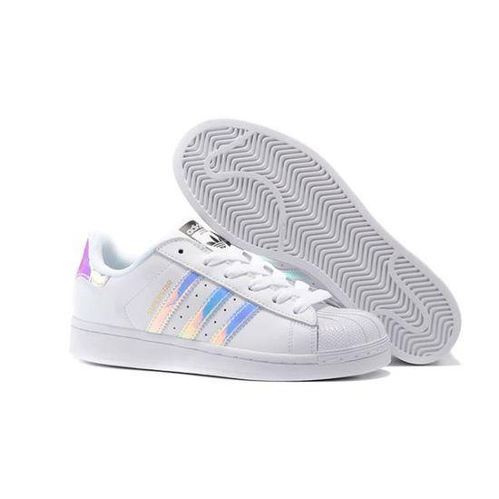 Baskets Adidas Superstar J Q6278 Femme Blanc/Laser Blanc ...