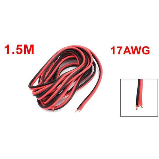 17AWG Isolation PVC Câble Fil Électrique 9 mètres Longueur Noir Rouge