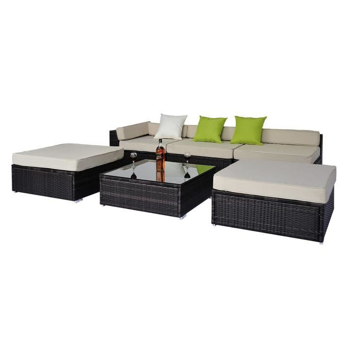 Salon De Jardin Complet Modulable Canap S Poufs Et Table Basse R Sine Tress E Imitation Rotin