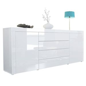 BUFFET - BAHUT  Buffet commode La Paz en Blanc haute brillance - B