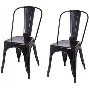 CHAISE Lot de 2 chaises de salle à manger style industrie