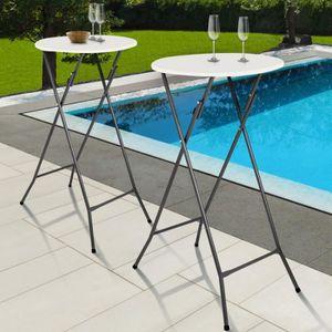 MANGE-DEBOUT Lot de 2 tables hautes 105 cm pliantes