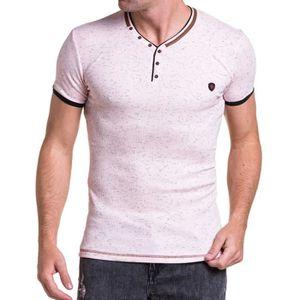 T-SHIRT Tee-shirt homme rose chiné moulant col V