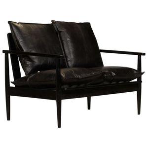 CANAPÉ - SOFA - DIVAN Sofa Canapé à 2 places Cuir véritable avec bois d'