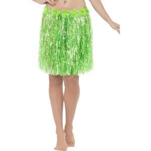 Femmes hawaïen 40CM long hula jupe robe fantaisie avec assorti fleur ceinture
