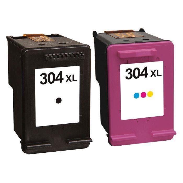 Pack 2 cartouches d'encre N° 304 XL Noir et Couleur Grande Capacité pour imprimante HP ENVY 5020