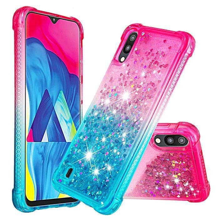 Coque Samsung Galaxy J6 2018 Fille Liquide Paillette Bling Transparente Silicone Gradient de couleur Bumper Antichoc (Rose Bleu)