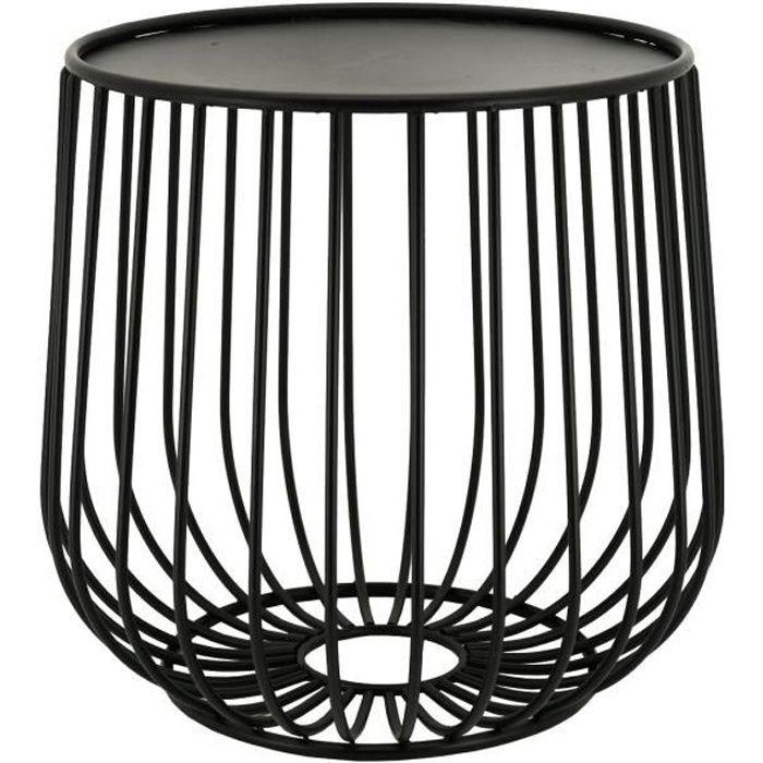 Table basse ronde en métal ajouré Noir