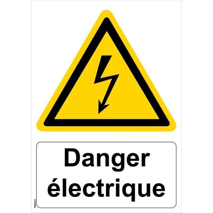 Panneau -Danger électrique- - PVC A5 - Signalisation de securite Ref: PREV010A5