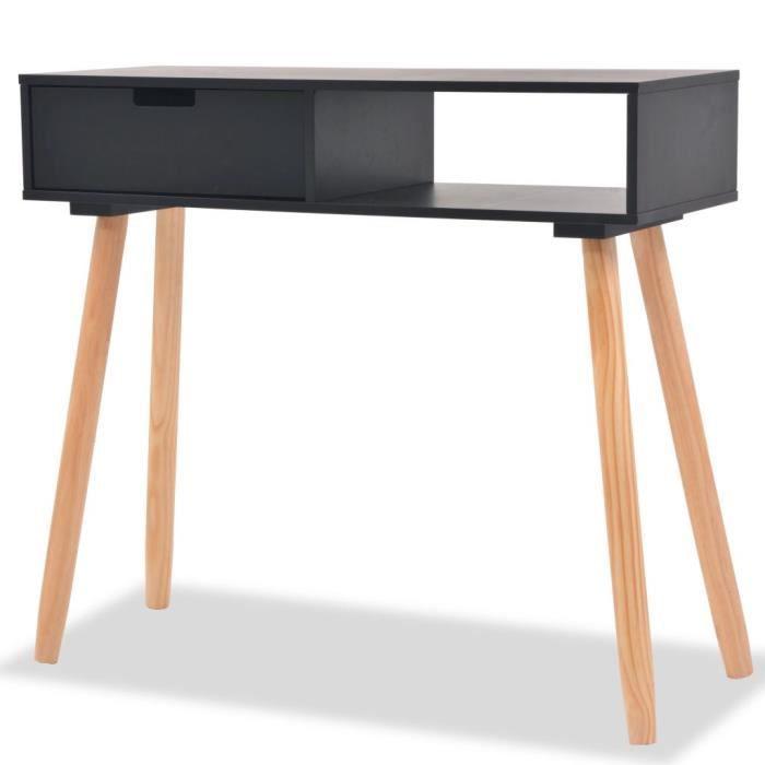Table console Bureau Petit Bureau table d'entrée table d'appoint industriel Bois de pin massif 80 x 30 x 72 cm Noir