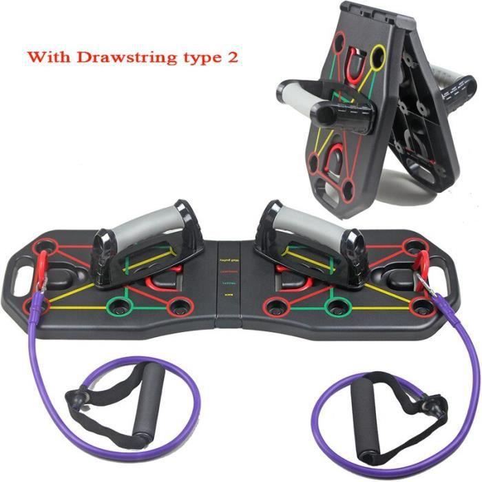 barre pour traction -Exercice musculaire du corps entier support de poussée maison pli...- Modèle: With rope type2 - ZOAMFWZDA08756