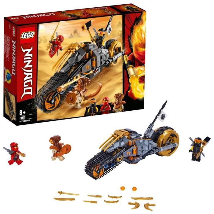 LEGO NINJAGO - La moto tout-terrain de Cole, Jeu pour Enfant 8 Ans et Plus, Briques de Construction Garçon et Fille 212 Pièces