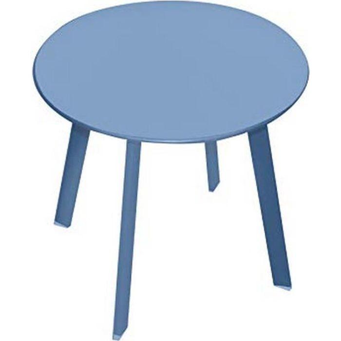BLEU TABLE BASSE APPOINT PORTABLE DÉMONTABLE METAL DESIGN RONDE JARDIN GUERIDON