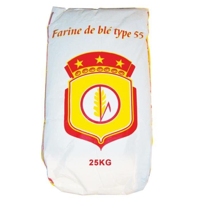 Farine de blé blanche type T55 Multi-Usage - Sac de 25kg - Marque Blason Rouge - Origine France