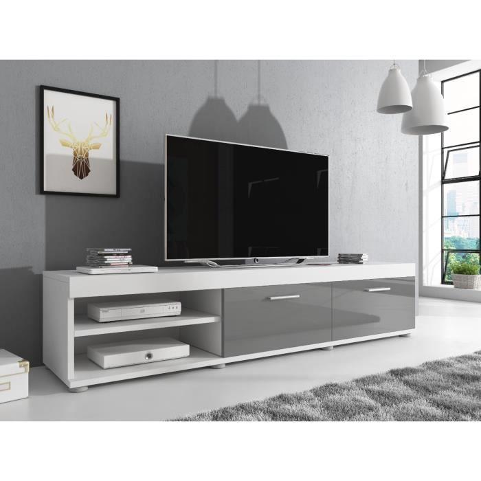 e-Com Meuble TV Elsa - 140 cm - Mat Blanc et Gris Brillant