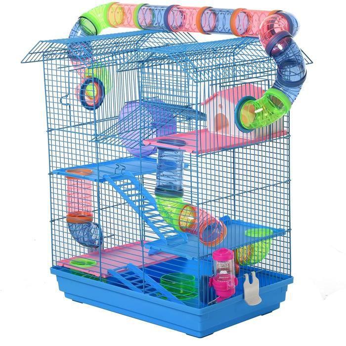 Pawhut Cage pour Hamster Souris Petit Animaux Rongeur avec Tunnel Mangeoire Roue Jouet 47 x 30 x 59 cm cm Bleu A308