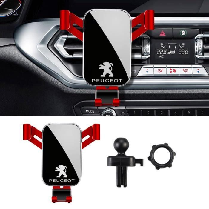 Supports voiture,ABS gravité support pour téléphone de prise d'air de voiture Clip support de Smartphone pour Peugeot - Type Red