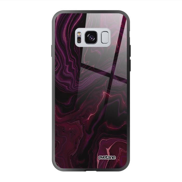 Coque en verre trempé Samsung Galaxy S8 Mercure Bordeaux Ecriture Tendance et Design Evetane.