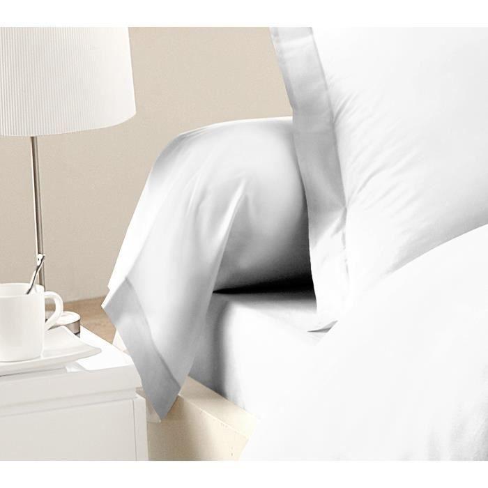 LOVELY HOME Lot de 2 Taies de Traversin 100% coton 85x185 cm - Blanc