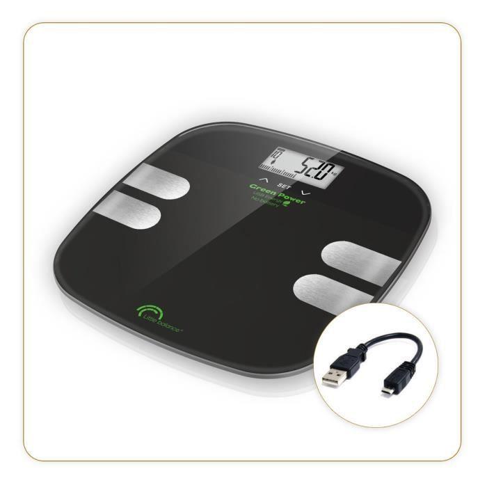 Little balance - pèse-personne électronique rechargeable 180kg-100g noir - 8230