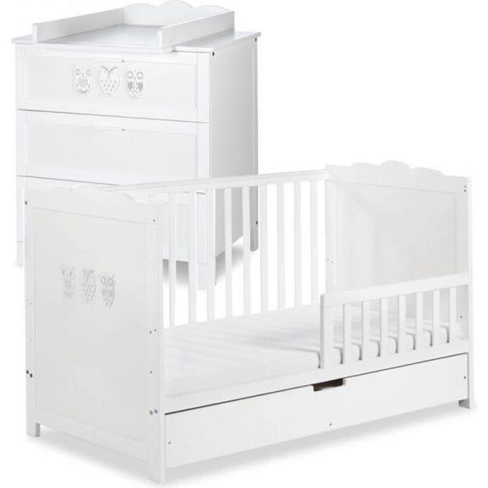chambre complete bebe MARSELL Ensemble commode à langer + lit bébé 140X70 + tiroir