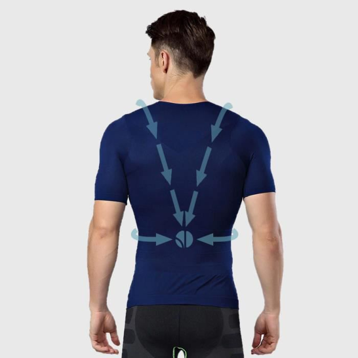 T-shirt Bleu Homme Correcteur de Posture - Anti Mal de Dos - Compression - Maillot de Corps Manches Courtes
