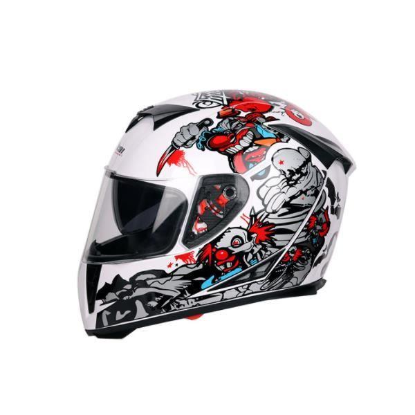 Casque de moto modulable adulte homme-YIELI Scooter femme double visière-noir