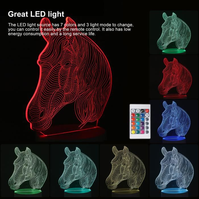 Veilleuse-3D Nigh Light Touch Control 3D Lumière colorée avec télécommande Table de décoration Lampe d'effet 3D-Tête de cheval