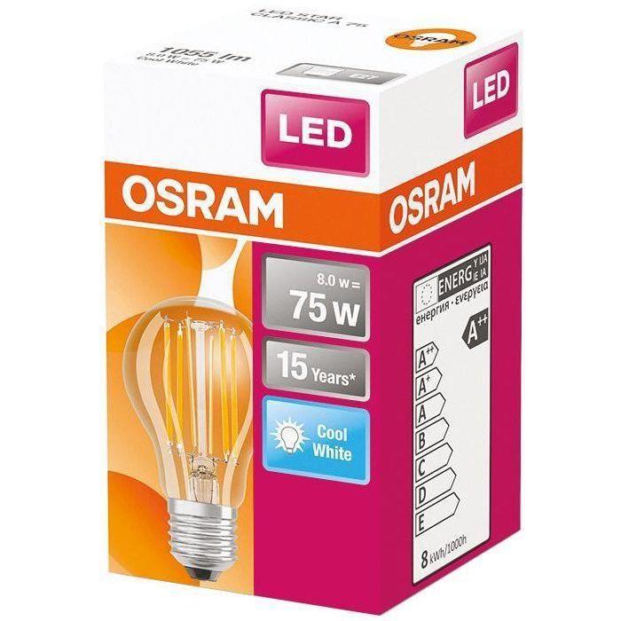 OSRAM Ampoule LED Standard clair filament - 7W équivalent 60W E27 - Blanc froid