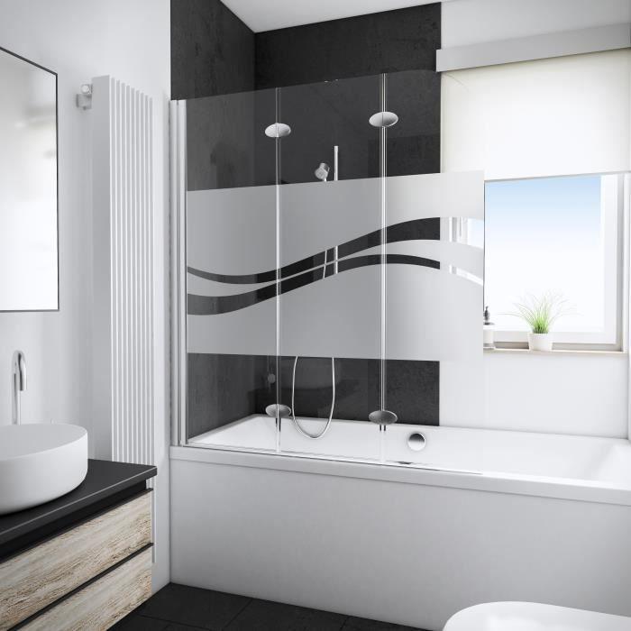 Ecran de baignoire Young Line, 3 volets, 125 x 140 cm, décor Liane, profilés aspect chromé