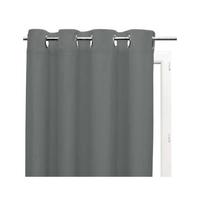 Rideau uni à oeillets 135x180 cm ALIX gris par Soleil d'ocre