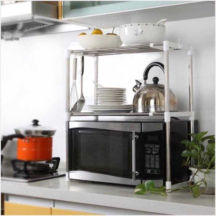 Support de four à micro-ondes multifonctionnel en acier inoxydable ménage télescopique Pan Pot étagère de rangement MICRO-ONDES