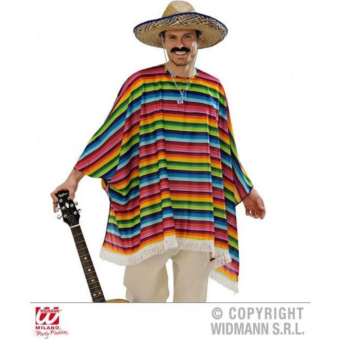 Déguisement poncho mexicain adulte