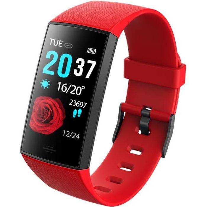 WEE'PLUG Bracelet connecté SB18+ - Multisports - Cardio au poignet - Bluetooth - Waterproof - Rouge