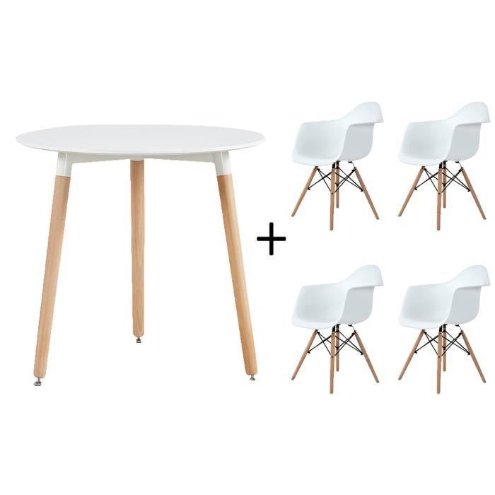 Dora De Salle à Manger Moderne Table Blanche Et 4 Chaises