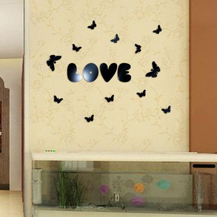 Papillon 3D Miroirs Stickers Muraux Autocollants D/écoratifs Amovibles D/écoration dint/érieur