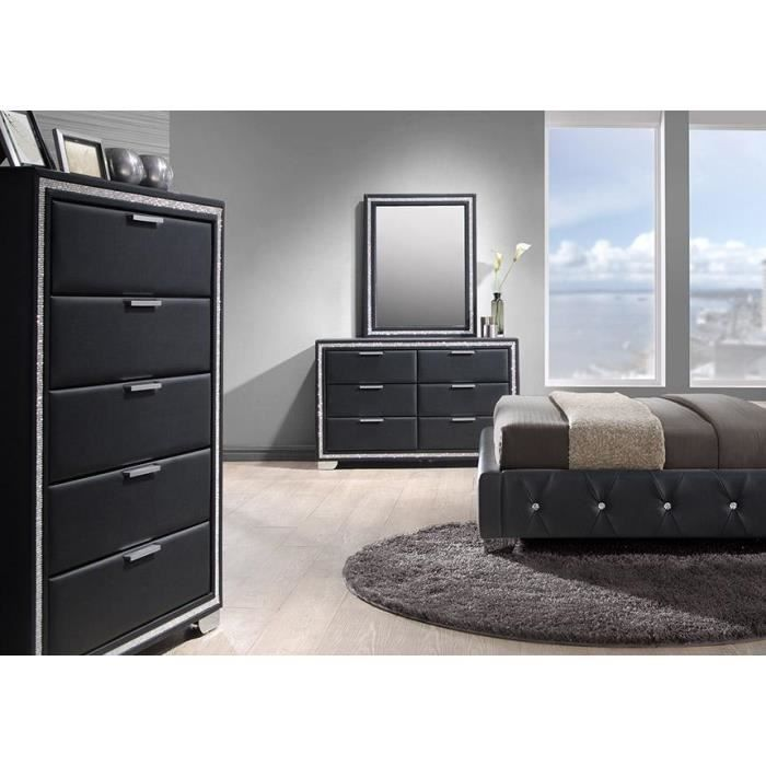 chiffonnier 5 tiroirs simili noir cladis achat vente. Black Bedroom Furniture Sets. Home Design Ideas