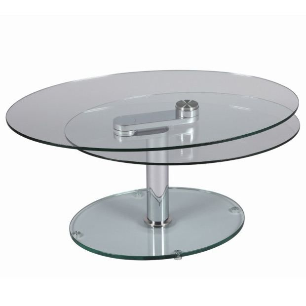 Table basse verre ovale adelheid achat vente table basse table basse so - Table basse 2 plateaux ...