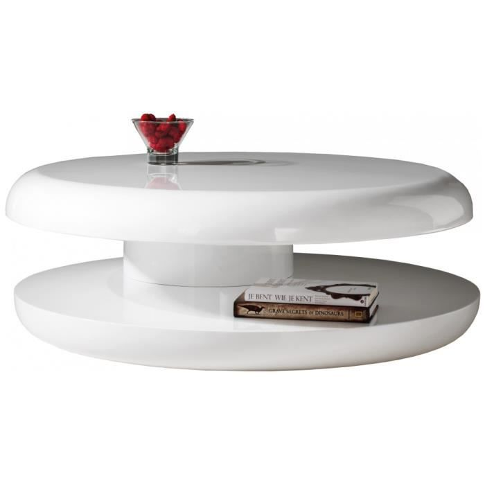 Table basse design ronde laque blanche plateau tournant for Table basse blanche design