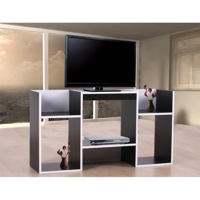 table tv avec tag res en bois 109 x 59 x 30 cm noir. Black Bedroom Furniture Sets. Home Design Ideas