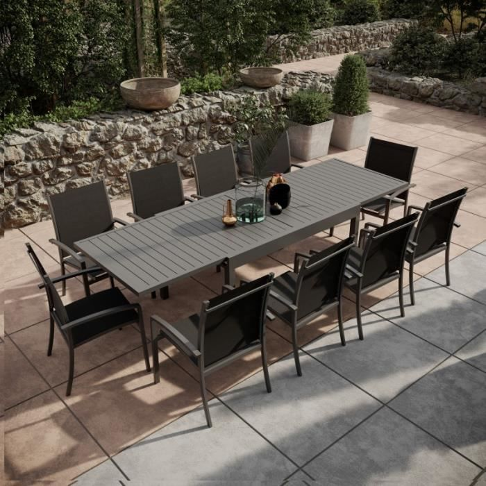 Table de jardin extensible aluminium 135-270cm + 10 Fauteuils empilables  textilène Gris Anthracite - ANDRA