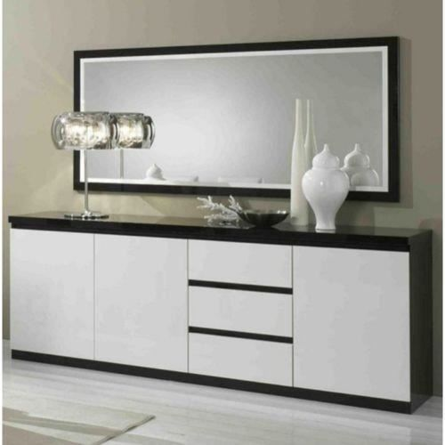 bahut 3 portes 3 tiroirs l220cm miroir l180cm roma noir blanc achat vente buffet bahut. Black Bedroom Furniture Sets. Home Design Ideas