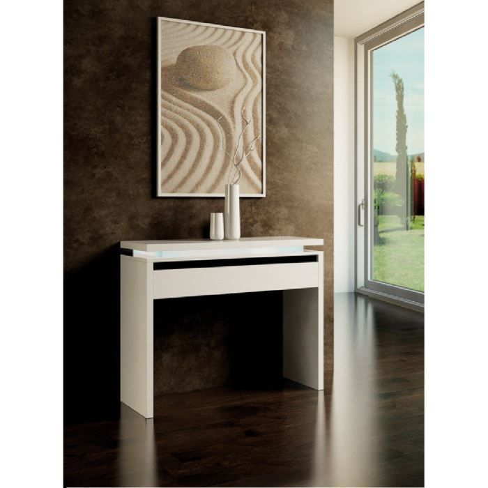 console fixe design eden blanche achat vente console console fixe design eden blanc cdiscount. Black Bedroom Furniture Sets. Home Design Ideas