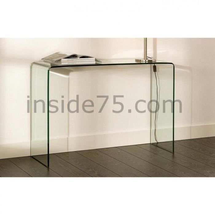 Bridge console fixe en verre tremp design achat vente console bridge con - Console transparente design ...