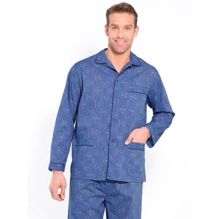 pyjama homme en flanelle pur coton imprime bleu achat vente chemise de nuit cdiscount. Black Bedroom Furniture Sets. Home Design Ideas