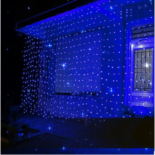 bleu 3m 3m 30leds rideau filet guirlande lumineuse lumi re. Black Bedroom Furniture Sets. Home Design Ideas