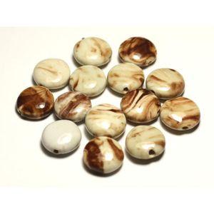 Perles Céramique Porcelaine Palets 15mm Bleu Turquoise 4pc 8741140010338