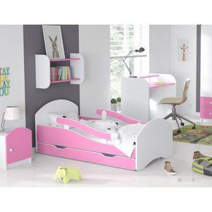 LIT COMPLET LIT ENFANT Dreams ROSE 160x70cm, AVEC MATELAS & BA