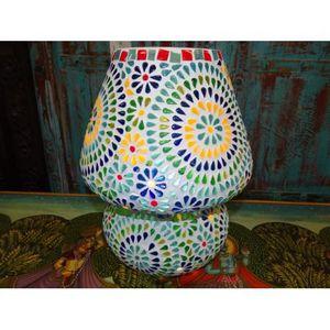 Tesselle Lampe mosaique ronde multicolor fleurs